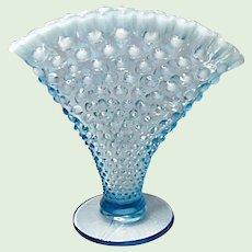 """Big One - 8"""" Vintage Fenton Blue Opalescent Hobnail Fan Vase"""