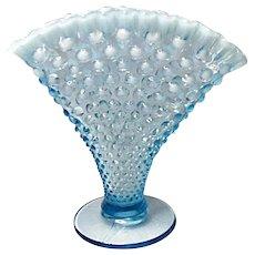 "Vintage Fenton Blue Opalescent Hobnail 8"" Fan Vase"