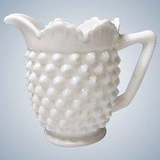 Vintage Fenton #3606 MI Milk Glass Hobnail Creamer Pre-Logo