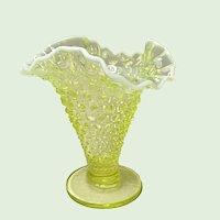 "Vintage 6.25"" Fenton Hobnail Topaz Opalescent Triangular Vase"