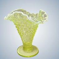 "Vintage Fenton Hobnail Topaz Opalescent 6.25"" Triangular Vase"