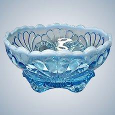 "Jefferson Glass Blue Opalescent Tokyo Bowl 6-1/2"""