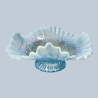 Jefferson Glass Blue Opalescent #245 Vintage Pattern Footed Bowl