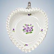 Vintage Fenton Silver Crest Relish - Violets In The Snow