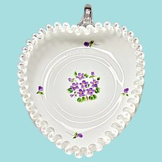 Vintage Fenton Silver Crest Relish - Violets In The Snow