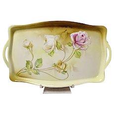 Vintage R.S. Germany Porcelain Rose Dresser - Vanity Tray