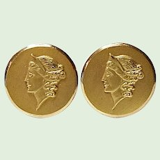 Vintage Gold Filled Cuff Link Set - Hellenic - Grecian - Neoclassical Style