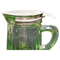 Hocking Uranium Green Table Ware Syrup Dispenser with Lid Ca. 1920's - 1930's