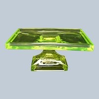 Vintage - Vaseline - Uranium Glass Teaberry Gum Tray - Stand - 1920's - 1930's