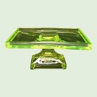 Vintage - Vaseline - Uranium Glass Teaberry Gum Tray - Stand - 1920's - 1930's