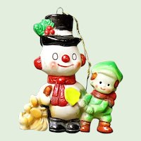 Japan Soft Plastic - Mid Century Snowman With Buddies Christmas Ornament