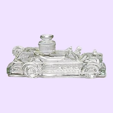 Vintage Glass Candy Container - Fire Truck Toy - Victory Glass Co., Jeannette, PA.