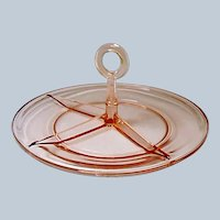 Vintage - Heisey Yeoman 3-Part Center Handled Relish Tray - Flamingo Rose Pink