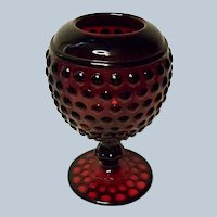 Imperial Ruby Red Early American Hobnail - Dew Drop Ivy Ball or Rose Bowl