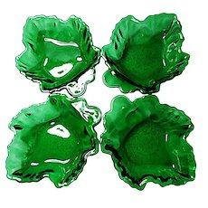Anchor Hocking Forest Green Maple Leaf Dessert - Candy Dishes 1950-1965