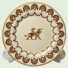 """Fitz and Floyd Salad Plate Pattern """"Alexandria"""" Gryphon Shells Fans, Gold Trim"""