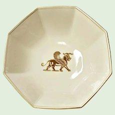 "Fitz and Floyd Large Vegetable - Salad Bowl - Pattern ""Alexandria"" Gryphon Shells Fans, Gold Trim"