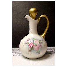 Hand Painted Limoges Porcelain Cruet ~ Floral ~ Roses