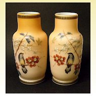 Antique Pair Thomas Webb Vases~Hand Painted~Satin Glass~Cased~Birds~Butterflies