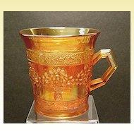 Antique Fenton Orange Tree Carnival Glass Mug~Marigold