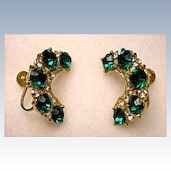 Vintage - Coro Costume Earrings~Emerald Green Rhinestones