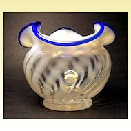 Fenton Blue Ridge Vase~80th Anniversary~1985