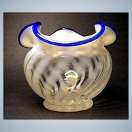 Fenton Blue Ridge Vase~80th Anniversary - 1985