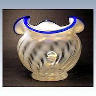 Fenton Blue Ridge Vase~80th Anniversary~1985