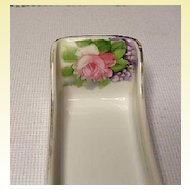 Nippon Porcelain Sugar Cube or Mint Tray ~ Hand Painted Pink Rose & Violets
