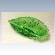 Jefferson Glass Jewel and Fan Banana Boat Dish ~ Green Opalescent