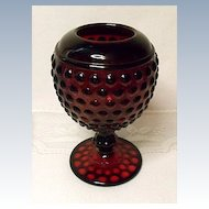 Depression Era - Ruby Red Imperial Early American Hobnail  Ivy Ball or Rose Bowl