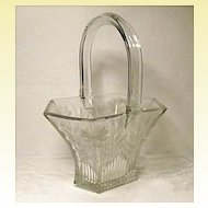 """8"""" Heisey Glass Basket~Picket #458 With Ornate Sprig and Daisy Cutting"""