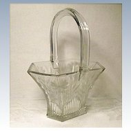 "8"" Heisey Glass Basket~Picket #458 With Ornate Sprig and Daisy Cutting"