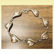 "Ladies Vintage 925 Silver - 7"" Lazy Heart Link Bracelet"