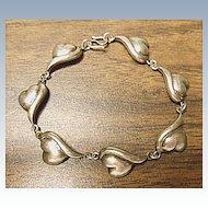 "Ladies Vintage 925 Silver - 7"" Lazy Heart Link Bracelet"