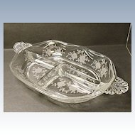 Fostoria Willowmere #333 Etch Celery Relish Dish -  #2560 Coronet Blank - Plume Handles - Beautiful Roses