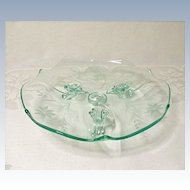 "Vintage ~ Depression Era ~ Lancaster Glass - Line #1830/7 - Three Toed 8"" Tray - Apple Green"
