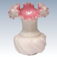 "Vintage Fenton - #6058, 6-1/2"" Peach Crest Vase - Double Crimp Edge - Wave Crest"