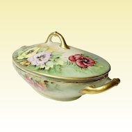 Very Vintage Bavaria H & Co. - Heinrich - Selb - Lovely Covered Oval Vegetable Dish - Pansies Galore