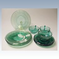 "Depression Era - ""Pretty Polly Party Dishes"" - Jeannette Glass - Doric And Pansy - 10 Pieces"
