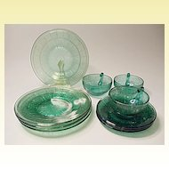 """Depression Era - """"Pretty Polly Party Dishes"""" - Jeannette Glass - Doric And Pansy - 10 Pieces"""