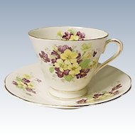 Vintage - Tuscan China Tea Cup and Saucer Set - England - Violets