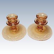 "Vintage Fostoria Pair - Etched Seville Single Candle Holders - 4"" Amber - Elegant Glass"