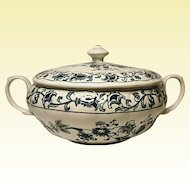 NIKKO Double Phoenix Ming Tree Blue Covered Vegetable Dish - Casserole