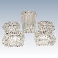 Save 20% - Vintage Heisey Ridgeleigh Five Piece Smoke Set - Elegant Glass Depression Era