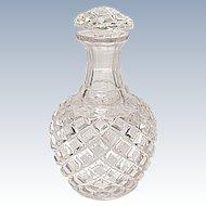 Vintage - Cut Glass Lead Crystal Cologne - Perfume Bottle - Diamond Crosshatch Pattern