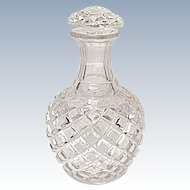 Vintage - Cut Glass Lead Crystal Cologne - Perfume Bottle - Diamond Crosshatch Pattern