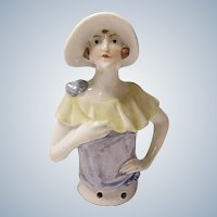 GERMAN Porcelain Flapper HALF DOLL - Pin Cushion - #1450 - Vintage