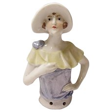 GERMAN Porcelain Flapper HALF DOLL - Pin Cushion - #1450 - Vintage