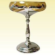 Vintage Farber Brothers Chrome Tall Compote With Amber Glass Insert